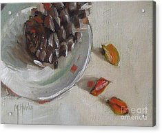 Pine Cone Still Life On A Plate Acrylic Print by Mary Hubley