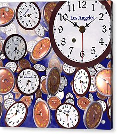Acrylic Print featuring the digital art It's Raining Clocks - Los Angeles by Nicola Nobile