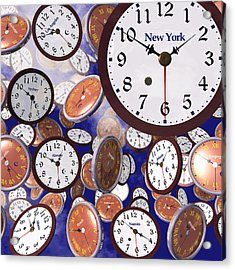 It's Raining Clocks - New York Acrylic Print by Nicola Nobile