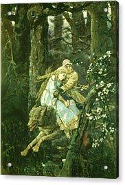 Ivan Tsarevich Riding The Grey Wolf, 1889 Oil On Board Acrylic Print by Victor Mikhailovich Vasnetsov
