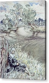 Izaak Walton Reclining Against A Fence Acrylic Print