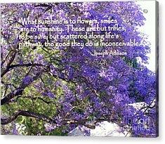 Jacaranda Beauty Smile Quote Acrylic Print by Marlene Rose Besso