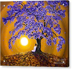 Jacaranda Sunset Meditation Acrylic Print by Laura Iverson