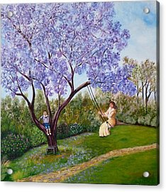 Acrylic Print featuring the painting Jacaranda Time by Renate Voigt