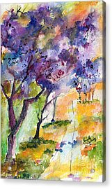 Acrylic Print featuring the painting Jacaranda Trees Watercolor And Ink By Ginette by Ginette Callaway