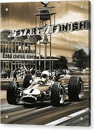 Jack Brabham Wins The First Ever Canadian Grand Prix Acrylic Print by Wilf Hardy