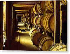 Jack Daniel Whiskey Maturing In Barrels In Old Warehouse At The Lynchburg Distillery Tennessee Usa Acrylic Print by David Lyons
