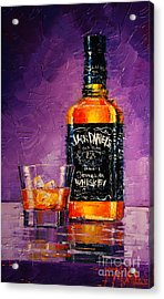 Still Life With Bottle And Glass Acrylic Print by Mona Edulesco