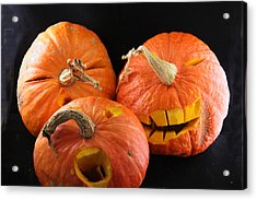 Orange Jack-o-lanterns Anticipating Halloween Acrylic Print by Michael Riley