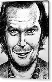Acrylic Print featuring the drawing Jack Nicholson #2 by Salman Ravish