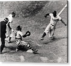 Jackie Robinson In Action Acrylic Print by Gianfranco Weiss