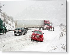Jacknifed Truck Blocking Highway Acrylic Print by Jim West