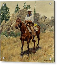 Jackson Hole George On His Horse Acrylic Print by Don  Langeneckert