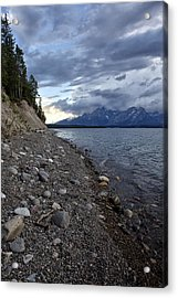 Acrylic Print featuring the photograph Jackson Lake Shore With Grand Tetons by Belinda Greb