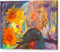 Acrylic Print featuring the painting Jackson's Chameleon by Robin Maria Pedrero