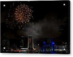 Jacksonville Skyline Fireworks Acrylic Print