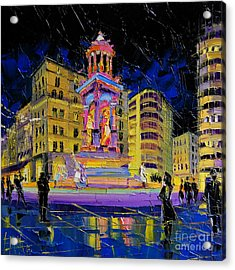 Jacobins Fountain During The Festival Of Lights In Lyon France  Acrylic Print by Mona Edulesco