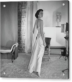 Jacqueline De Ribes Wearing A Desses Dress Acrylic Print by Horst P. Horst