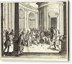 Jacques Callot, French 1592-1635, Stoning Of Jesus Acrylic Print