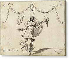 Jacques-louis David, Ornament With A Woman In Ancient Dress Acrylic Print