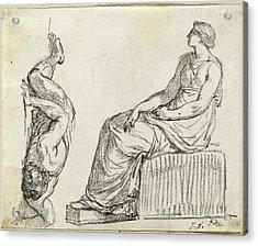 Jacques-louis David, Seated Woman And Man Sprawling Acrylic Print