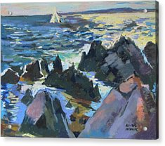 Acrylic Print featuring the painting Jagged Rocks by Linda Novick