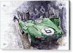 Jaguar D-type  1955 Le Mans  Acrylic Print by Yuriy Shevchuk