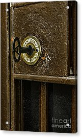 Jail Cell Door Lock  And Key Close Up Acrylic Print by Paul Ward