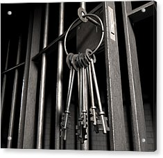 Jail Cell With Open Door And Bunch Of Keys Acrylic Print by Allan Swart