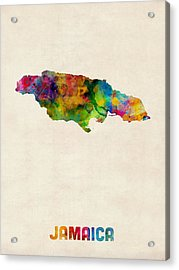Jamaica Watercolor Map Acrylic Print by Michael Tompsett