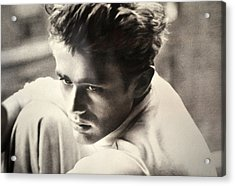 James Dean Black And White Acrylic Print by Jay Milo