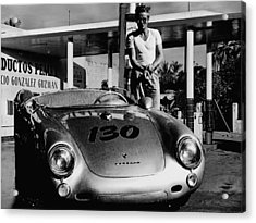 James Dean Filling His Spyder With Gas In Black And White Acrylic Print by Doc Braham