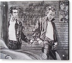 James Dean Meets The Fonz Acrylic Print by Sean Connolly