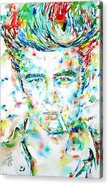 James Dean Smoking Cigarette - Watercolor Portarit Acrylic Print