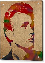 James Dean Watercolor Portrait On Worn Distressed Canvas Acrylic Print