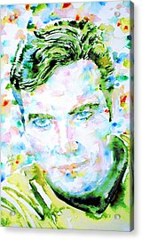 James T. Kirk - Watercolor Portrait Acrylic Print by Fabrizio Cassetta