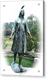Jamestown Pocahontas Statue Acrylic Print by Christiane Schulze Art And Photography