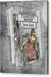 Acrylic Print featuring the painting Jane Eyre Book Abstract by Nik Helbig
