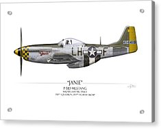 Janie P-51d Mustang - White Background Acrylic Print by Craig Tinder