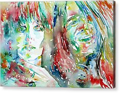 Janis Joplin And Grace Slick Watercolor Portrait.1 Acrylic Print