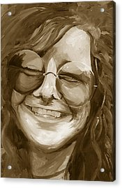 Acrylic Print featuring the painting Janis Joplin Gold by Michele Engling