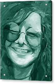 Acrylic Print featuring the painting Janis Joplin Green by Michele Engling