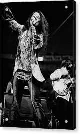 Janis Joplin On Stage Acrylic Print by Charles Tracy