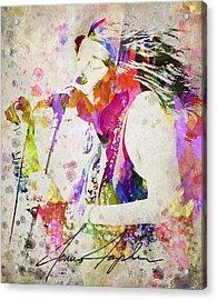 Janis Joplin Portrait Acrylic Print by Aged Pixel