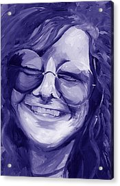 Acrylic Print featuring the painting Janis Joplin Purple by Michele Engling