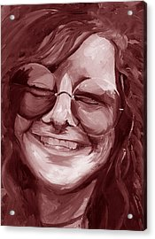 Acrylic Print featuring the painting Janis Joplin Red by Michele Engling