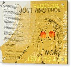 Janis Joplin Song Lyrics Bobby Mcgee Acrylic Print