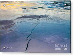 Acrylic Print featuring the photograph January Sunset On A Frozen Lake by Nina Silver