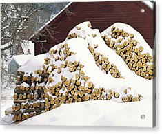 Acrylic Print featuring the photograph January Woodpile by Alan L Graham