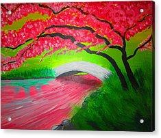 Japanese Blossoms Acrylic Print by Haleema Nuredeen